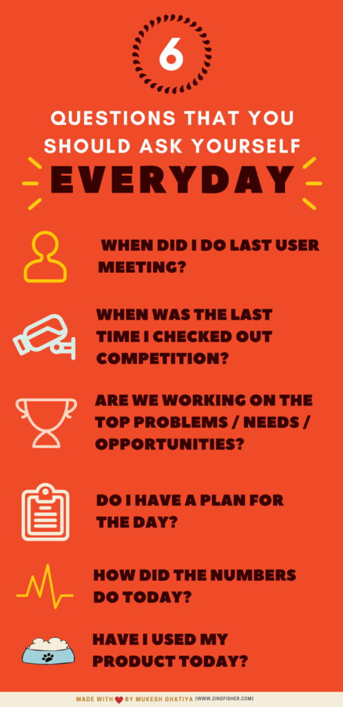Have I used product today? When did I check out competition last? When did I do last user meeting? All that we are working on, are they the top problems/needs/opportunities? Do I have a plan for the day? How did the numbers do today?